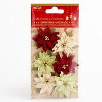 Poinsettias Mixed Pack Medium Xmas Christmas Embellishments 6 Pack XM018