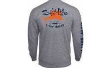 NEW SALT LIFE BIG SHOT LS GRAY FISH SURF BOAT DIVE Long Sleeve T SHIRT 2XL Last