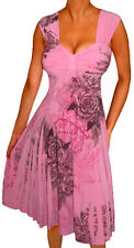 RO2 FUNFASH PINK ROSE EMPIRE WAIST COCKTAIL DRESS WOMEN PLUS SIZE DRESS 1X 18 20