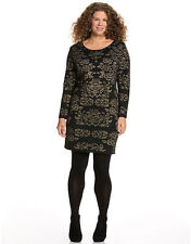 LANE BRYANT PLUS SIZE BLACK & GOLD INTARSIA SWEATER DRESS SZ 14/16 NWOT
