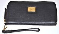 Kenneth Cole Black Leather Clutch Wristlet Wallet Wrist Card Strap Zip Around