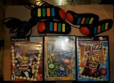Lot PS2 Buzz Games & Controller Robojam Hollywood Mega Quiz Free Shipping