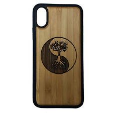 Tree of Life Case made for iPhone X phones Bamboo Wood Cover+TPU Wrapped Edges