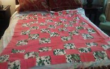"Quilt top unfin, 51x64"" peach, floral print blocks 6"", cott/poly ship free"