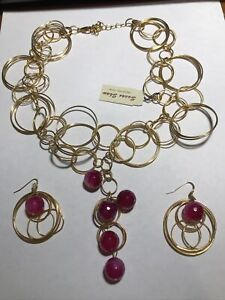 NEW Susan Shaw 24Kt Gold Plated Circle Link Necklace,Pink Accents & Earrings