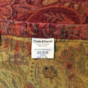 """CRATE & BARREL Woven Paisley Tapestry Tablecloth 66X126"""" Red/ Yellow EUC"""