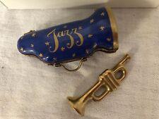 "Limoges France Trumpet Trinket Box In ""Jazz"" Case Peint Main Instrument"