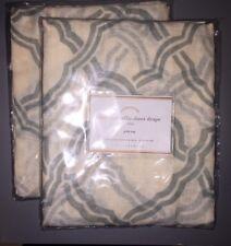 "NEW! Pottery Barn Blue KENDRA TRELLIS Linen Sheer Drape Panels 50 x 108"" SET/2"