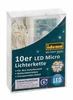 IDENA LED Micro Lichterkette 10er warmweiss für innen mit 6h Timer  31114