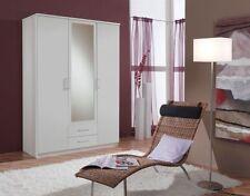 SlumberHaus German 'Berlin' 3 Door & 2 Drawers White and Mirror Door Wardrobe