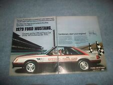 """1979 Ford Mustang Indy 500 Pace Car 2pg Ad """"Gentlemen, Start Your Engines"""""""