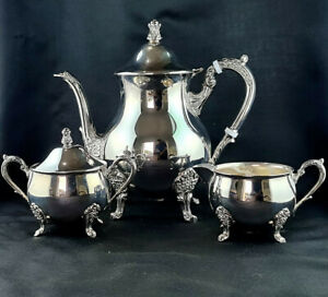 Vintage Rodd Silver Plate 3pc Coffee Set Comprising Embossed Footed Coffee Pot,