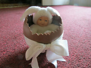 Anne Geddes Baby Bunny Plush Doll in Plastic Chocolate Easter Egg 1997