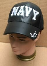 Navy in White Thick Embroidered on Black all Leather Hat Men's Support Troops VG