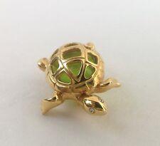 Vintage Anne Klein Gold Tone Green Glass White Rhinestones Turtle Pin Brooch