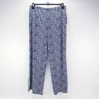 MSK Womens Palazzo Pants Navy Blue White Polka Dot Elastic Waist Stretch L New