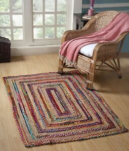 Rug Natural jute & cotton handmade reversible home decor living area carpet rug
