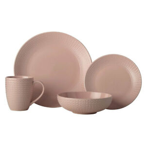 16pc Casa Domani Corallo Porcelain Coupe Bowl/Mug/Side/Dinner Plate Set Pink