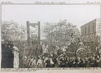 Charlotte Corday guillotine 1793 Rare Gravure révolution Française Paris
