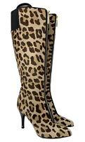 Authentic LOUIS VUITTON Unborn Calf Leopard Boots #37.5 US 7 Beige Brown Rank A