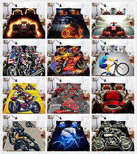 3D Sports Cars Motorcycle Racing Duvet Cover Bedding Set Quilt Cover Pillowcase