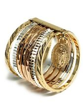 Gold Plated Tri-Color Virgin Mary Ring Virgen De Guadalupe Semanario Anillo