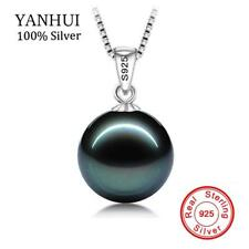 Black Pearl Necklace Pendant Gold Tahitian Silver 14k Chain Sterling Diamond New