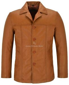 Men's Retro Style Real Leather Tan Lambskin Reefer Jacket Mid Length Coat 4010