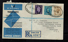 1939 Wimbledon England First Flight Cover to Brooklyn USA Imperial Airways FFC