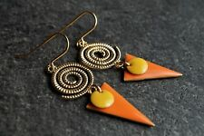 Gold Spiral Orange Triangle Enamel Earrings* Ethnic* Feminine