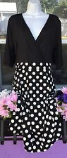 Women's Ladies V Neck Comfy Classic Black Polka Dot A Line Dress Size XL 16 Plus