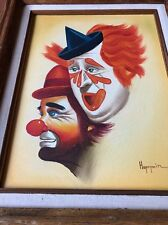 Clown Original Oil Painting Signed By Hoppin