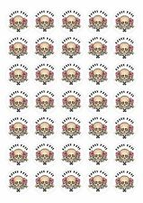 Gothic Tattoo Skull Style Happy Mail Stickers 175 Paper Rounds 37mm 5 a4 sheets