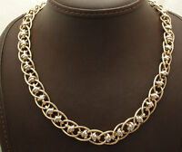 Technibond Love Knot Oval Link Chain Necklace 14K Yellow White Gold Clad Silver