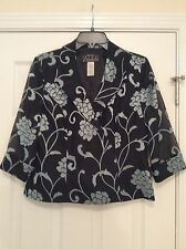 ALEX EVENINGS Formal Cocktail Party Blouse Top Black/Dusty Blue Med Petite Used