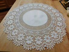 "Vtg German Hand Crocheted Linen Doily Centerpiece Filet Crochet Dramatic 23"""