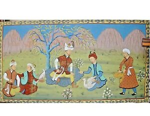 "Antique Indian Folk Art Pichwai Painting on Fabric Cloth 54"" Men Hunting India"
