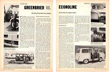 1962 CHEVROLET GREENBRIER VS FORD ECONOLINE ~ ORIGINAL 2-PAGE ARTICLE / AD