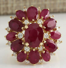 7.40 Carat Natural Ruby And Diamond Ring In 18K Solid Yellow Gold