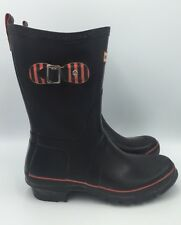 Hunter Festival Wellies Black/Red Rain Boots Womens Size 7 EUC