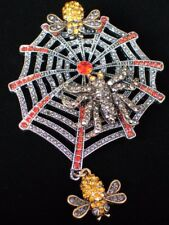 "Heidi Daus REPLICA Halloween Along Came a Spider Web Pin Brooch Jewelry 3.75""LRG"