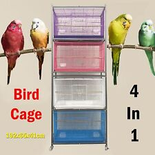 4 In 1 Metal Parrot Cockatiel Budgie Canary Breeding Bird Cage Aviary 192x65x41