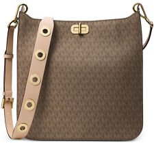 Michael Kors MK Signature Sullivan Large Messenger Bag Mocha Gold Grommet NWT