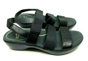 Dansko Black Leather Sandal Expandable Straps Slingback Rubber Sole Size EU 40