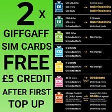 New Giffgaff 80GB DATA Unlimited call text SIM card gifgaf sims gif gaf PAYG