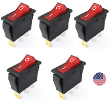 5pcs KCD3 Red Button On-Off 3Pin DPST Boat Car Rocker Switch 15A/20A 250V/125VAC