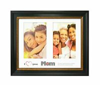 I Love Mom Frame, Black Wood with Gold & Burgundy Lines- 8x10 for Two 4x6 Photos