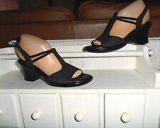 NEW* Sz 8SS MUNRO; Black Nubuck Leather Ankle Strap Walking Wedge Sandal  Shoes