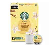 NEW-! Starbucks Honey & Madagascar Vanilla Ground Coffee K-Cup 22 Pods Kcup .