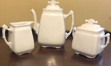 Antique JOHNSON BROS  White Ironstone TEA SET Teapot Creamer & Sugar Bowl
